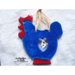 Cotkodec la poule en céramique couleur bleu outremer