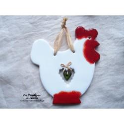 cotlodec la poule en céramique couleur blanc