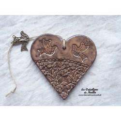 Coeur en céramique crème brûlée breloque colombe