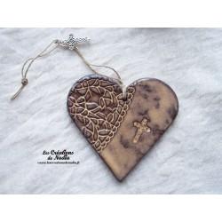 Coeur en céramique crème brûlée breloque croix