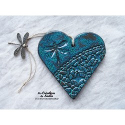 Coeur en céramique vert émeraude breloque libellule