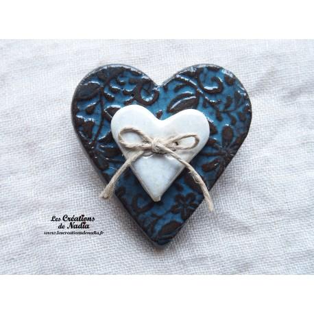 Broche coeur en céramique bleu