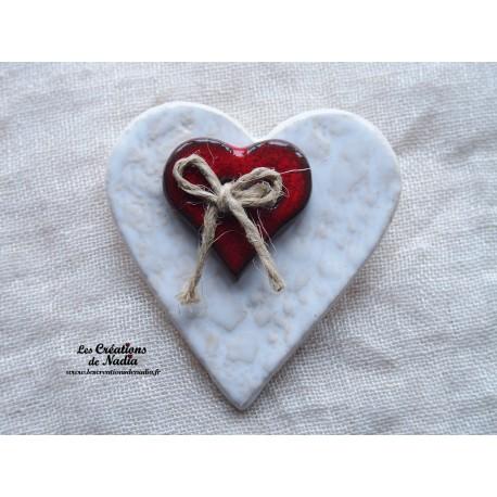 Broche coeur en céramique blanc