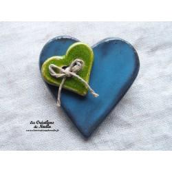 Broche coeur en céramique couleur bleu canard
