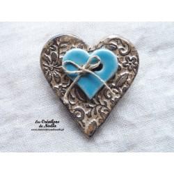 Broche coeur en céramique marron glacé