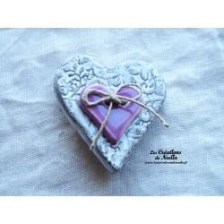 Broche coeur en céramique Elsass café