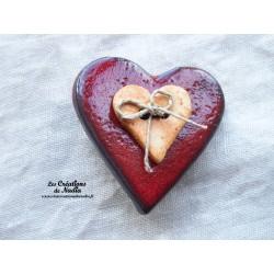 Broche coeur en céramique couleur rouge piment