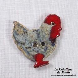 Bouton poule bleu-gris marbré