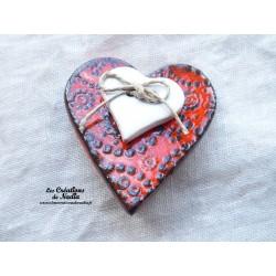 Broche coeur en céramique couleur orange