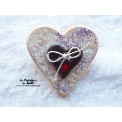 Broche coeur en céramique couleur parme