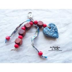 Grigri bijoux de sac coeur bleu