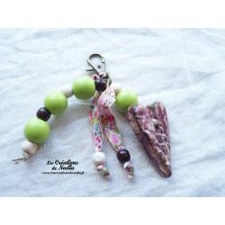 Grigri bijoux de sac coeur couleur camaïeu de parme