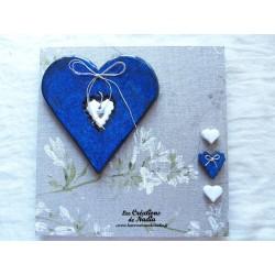 Tableau coeur Hansi en céramique bleu nuit