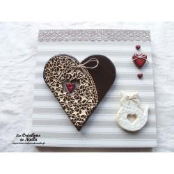 Tableau coeur Hansi en crème bicolore