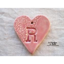 """Coeur belle lettre en céramique motif """"Belle époque"""" couleur Rose"""