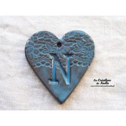 """Coeur belle lettre en céramique motif """"Belle époque"""" couleur bleu Canard"""