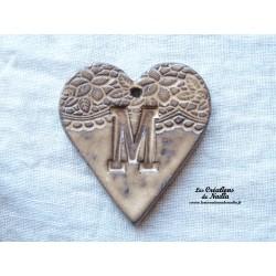 Coeur belle lettre couleur crème brûlée