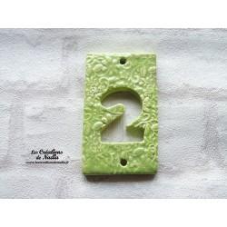 Plaque numéro de maison en céramique  vert amande impression fine dentelle