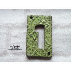 Plaque numéro de maison en céramique  vert tilleul impression arabesques