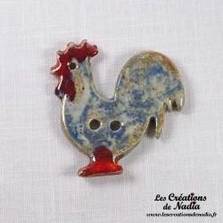 Bouton coq bleu-gris marbré