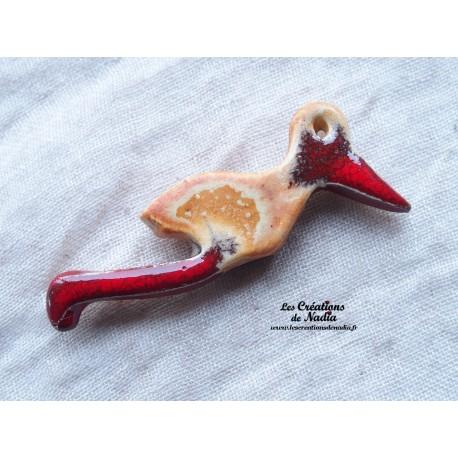 Magnet cigogne en vol couleur pain d'épice