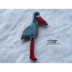 Magnet cigogne debout couleur bleu-gris marbré