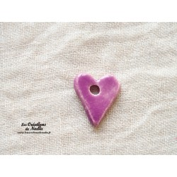 Bouton coeur lilas un trou