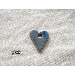 Bouton coeur bleu gauloise un trou