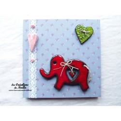 Tableau éléphant rouge pomme d'amour