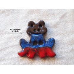 Bouton grenouille bleu