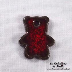 Sujet ourson rouge pomme d'amour