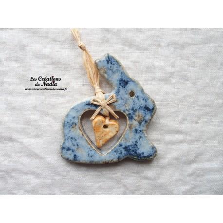 Lapin en céramique couleur bleu-gris marbré