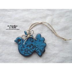 Colombe couleur bleu canard impressions fines dentelles