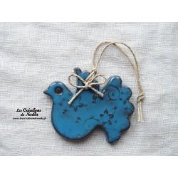 Colombe couleur bleu canard impressions florales