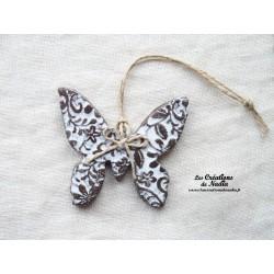 Papillon couleur bicolore blanc impressions fines dentelles