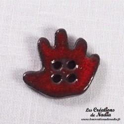 Bouton grande main droite rouge piment