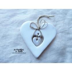 Coeur Liesel en poterie blanc