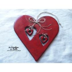 Coeur en céramique Big Charele  rouge piment