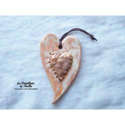 Coeur allongé en céramique couleur vanille