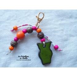Grigri bijoux de sac hibou vert reinette