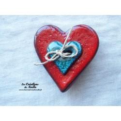Broche coeur en céramique rouge