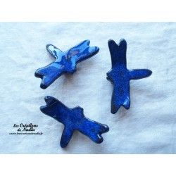 Lot de trois libellules en céramique pour les jardins et jardinières, couleur bleu nuit