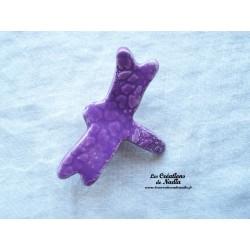 Libellule en céramique pour les jardins et jardinières, couleur lilas