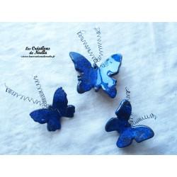 Lot de trois papillons en céramique pour les jardins et jardinières, couleur bleu nuit