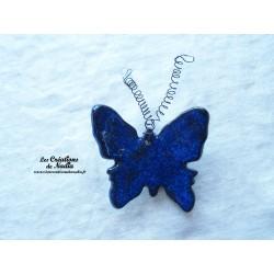 Papillon en céramique pour les jardins et jardinières taille grand, couleur bleu nuit