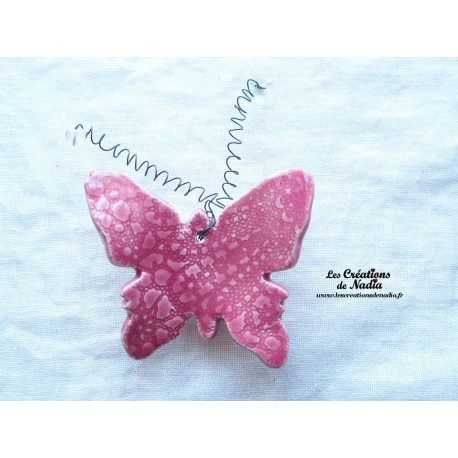 Papillon en céramique pour les jardins et jardinières taille grand, couleur rose