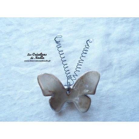 Papillon en céramique pour les jardins et jardinières taille moyenne, couleur marron glacé