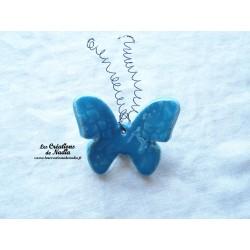 Papillon en céramique pour les jardins et jardinières taille moyenne, couleur bleu lagon