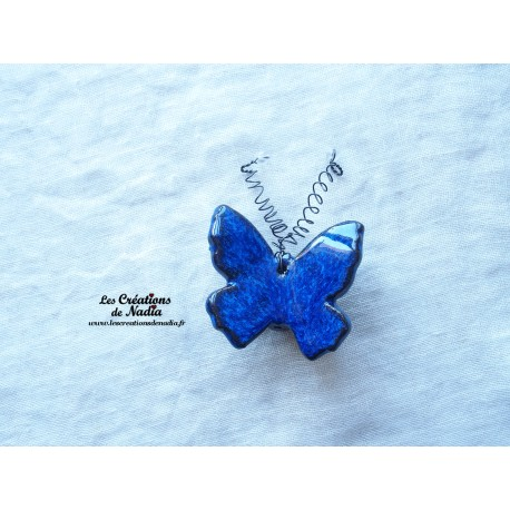 Papillon en céramique pour les jardins et jardinières taille petit, couleur bleu nuit