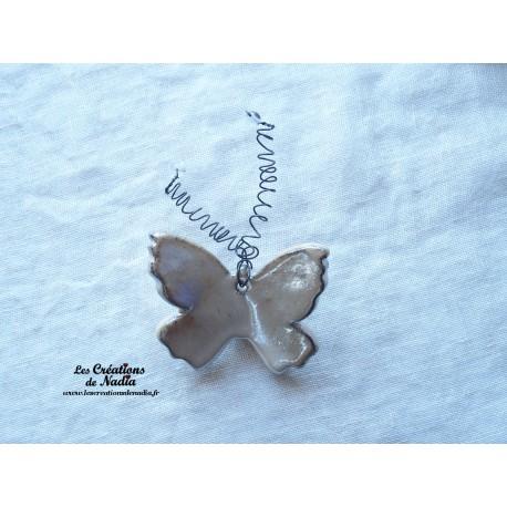 Papillon en céramique pour les jardins et jardinières taille petit, couleur marron glacé